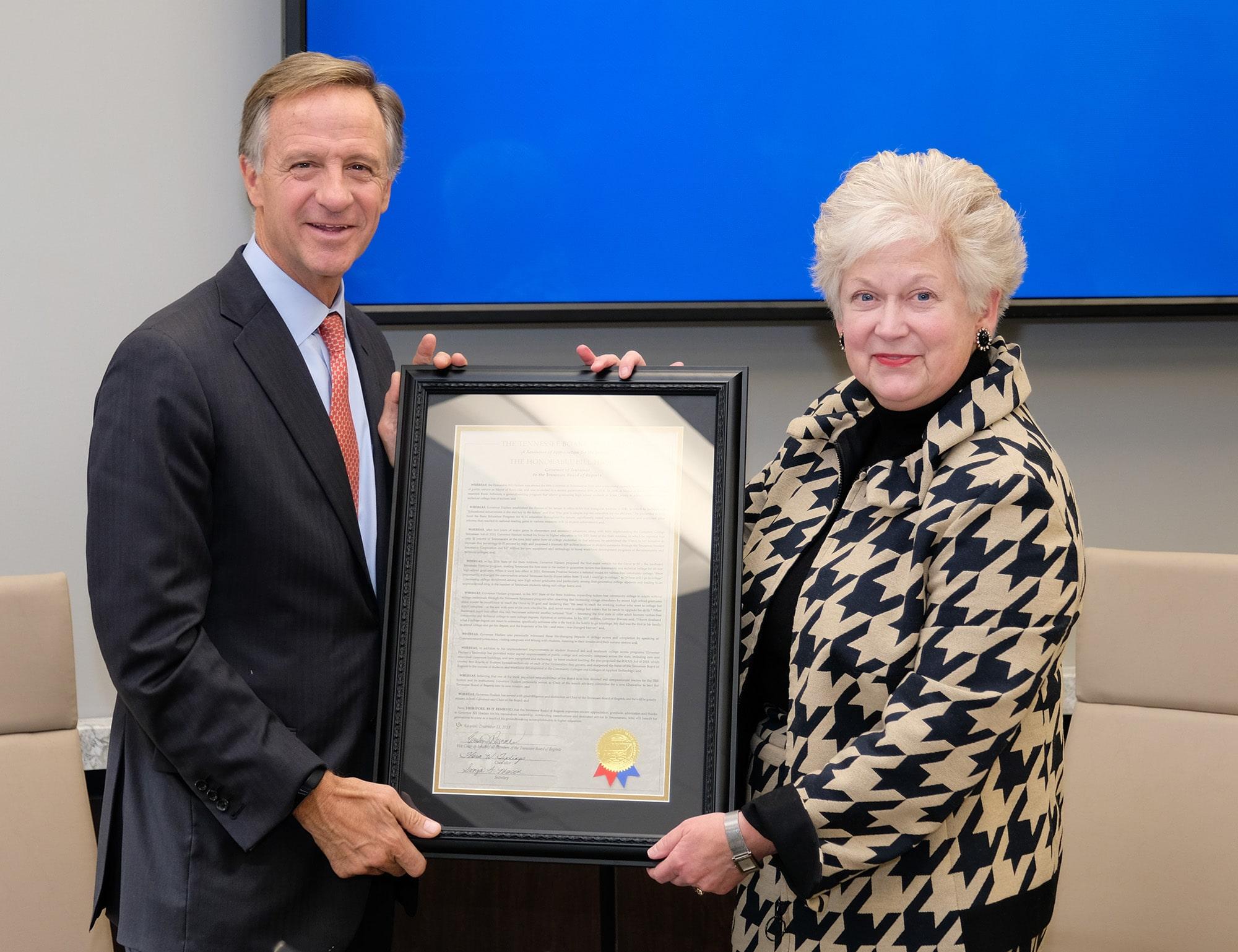 Board of Regents honors Gov. Bill Haslam, hears update on new Warranty program, approves new technical programs