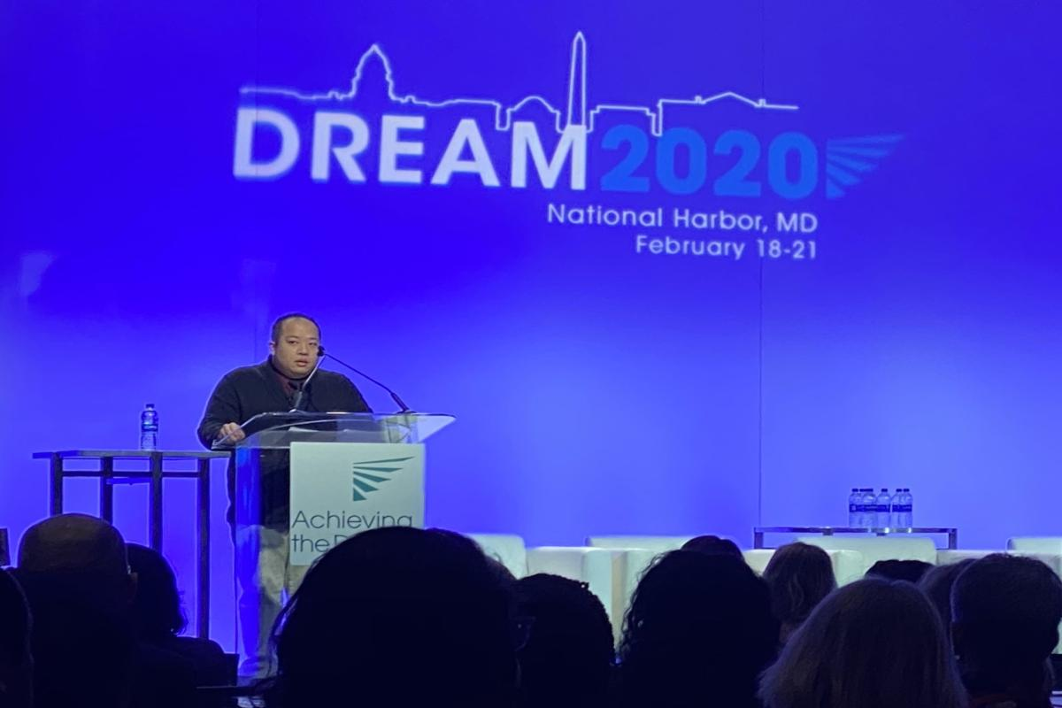Northeast State student Tuan Nguyen addresses ATD conference