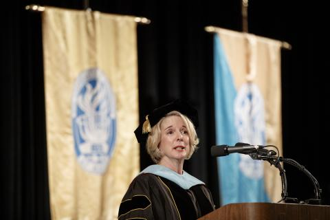Chancellor Flora W. Tydings delivers UT Martin spring commencement address