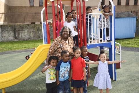 Dr. Mary Palmer, director of childcare centers at Southwest, and her charges