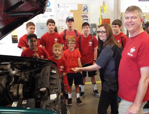 TCAT Elizabethton instructors help Boy Scouts earn their auto maintenance merit badge