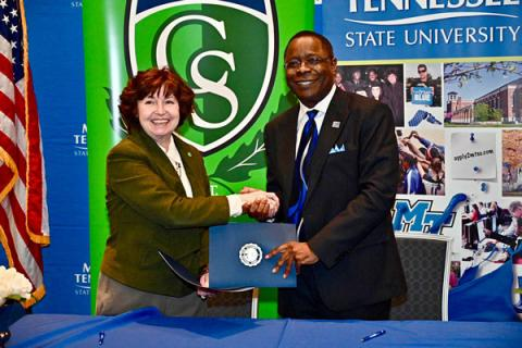 MTSU and Columbia State Presidents Sign Agreements