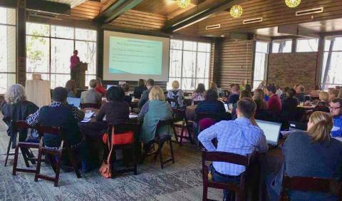 Dr.  Wendy Troxler addresses Tennessee community college advisors at Advising Academy