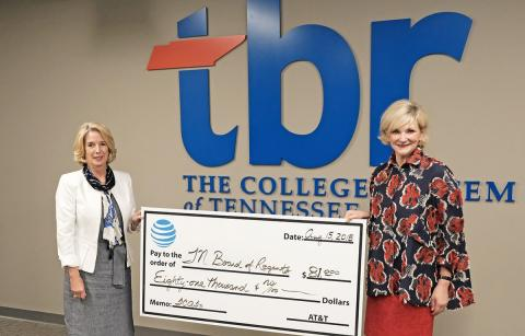 AT&T Tennessee President Joelle Phillips presents donation to Chancellor Flora W. Tydings
