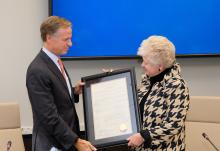 TBR Vice Chair Emily J. Reynolds presents Resolution to Gov. Bill Haslam