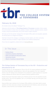 The College System of Tennessee newsletter