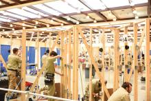 Students at work on their building and carpentry skills